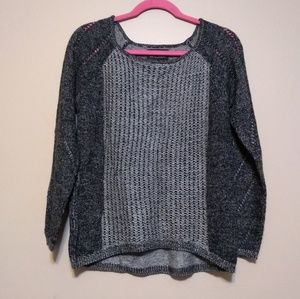 Maddison black grey cable knit sweater sz S